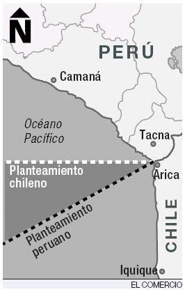 Frontera marítima según Perú y Chile